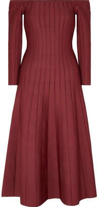 CASASOLA - Off-the-shoulder Ribbed Stretch-knit Dress - Burgundy
