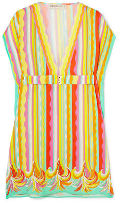 Emilio Pucci Belted Printed Voile Tunic - Yellow