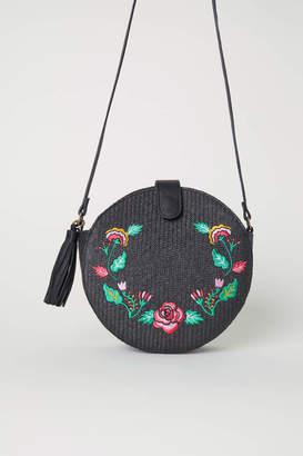 H&M Embroidered Shoulder Bag - Black/floral - Women