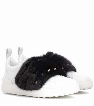 Valentino Open mink fur-trimmed leather sneakers