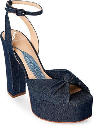 Brian Atwood Gabby Denim Platform Block Heel Sandals
