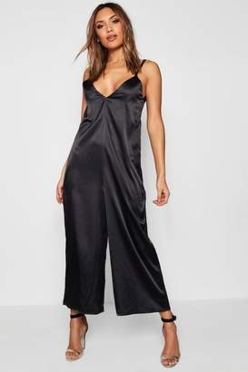 boohoo Ingrid Satin Wide Leg Jumpsuit
