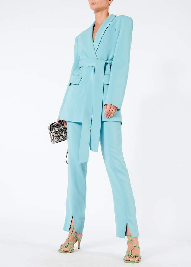 Oversized Tuxedo Blazer with Removable Belt