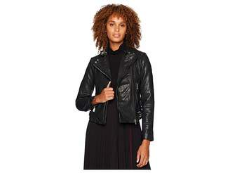 Lauren Ralph Lauren Burnished Leather Moto Jacket