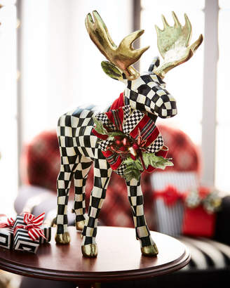 Mackenzie Childs Courtly Check Standing Moose Figurine