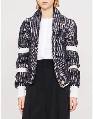 Thom Browne Shawl-collar herringbone wool cardigan