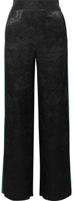 Maje Satin-jacquard Straight-leg Pants - Black