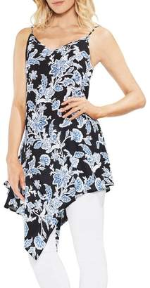 Vince Camuto Woodblock Floral Asymmetrical Tunic Blouse