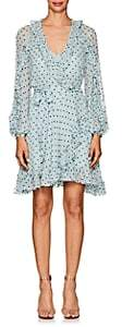 Zimmermann WOMEN'S WHITEWAVE POLKA DOT GEORGETTE WRAP DRESS-LT. BLUE SIZE 0