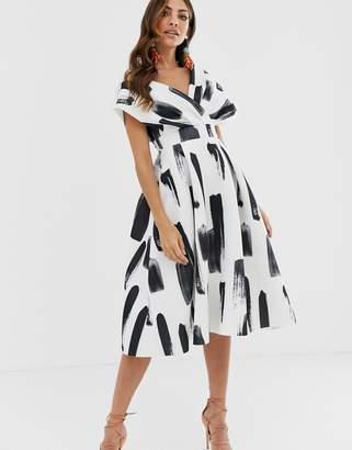 Asos Design DESIGN Fallen Shoulder Prom Dress with Tie Detail in brush stroke print