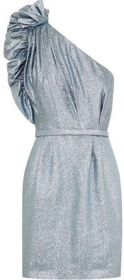 Stella McCartney Ruffled One-shoulder Lurex Mini Dress