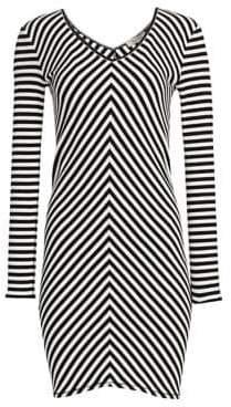 Rag & Bone Halifax V-Neck Striped Mini Dress