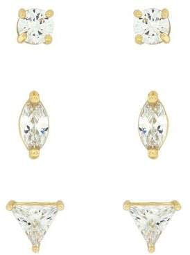Jessica Simpson Set of Three Crystal Stud Earrings
