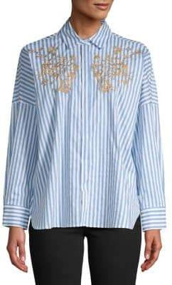 Marella Striped Embroidered Floral Shirt