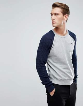 Brave Soul Textured Raglan Pocket Sweatshirt