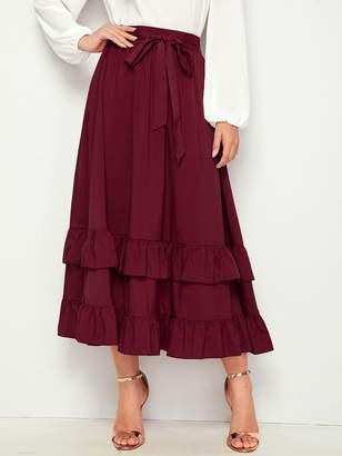 Shein Layered Ruffle Hem Belted Skirt