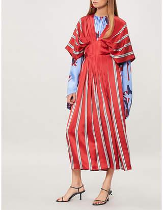 Roksanda Mihara striped silk-satin midi dress