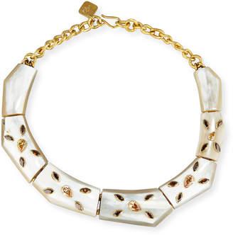 Ashley Pittman Malkia Light Horn & Crystal Collar Necklace