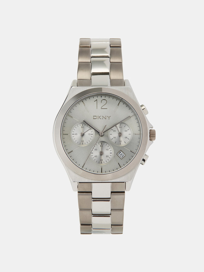 DKNY Parsons Silver-Tone And Grey Ip Chronograph Watch