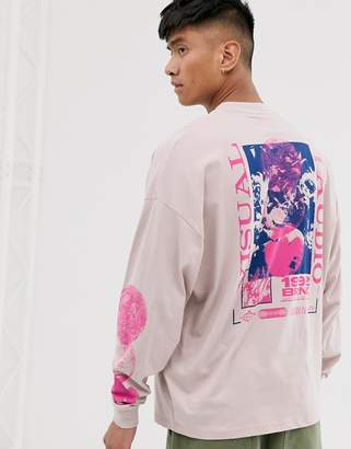 Asos Design DESIGN oversized long sleeve t-shirt with chest and large floral back print