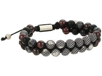 Steve Madden Textured Design Labradorite and Garnet Beaded Double Stand Adjustable Bracelet