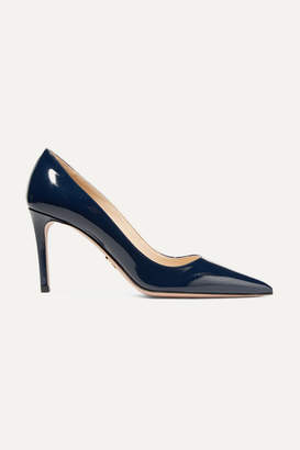 Prada Glossed Textured-leather Pumps - Midnight blue