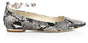 Sophia Webster Men's Dina Snake-Print Leather Gem Flats
