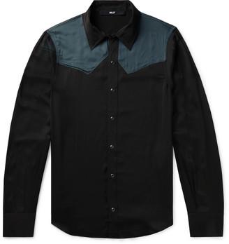 Billy Colour-Block Satin Western Shirt - Men - Black