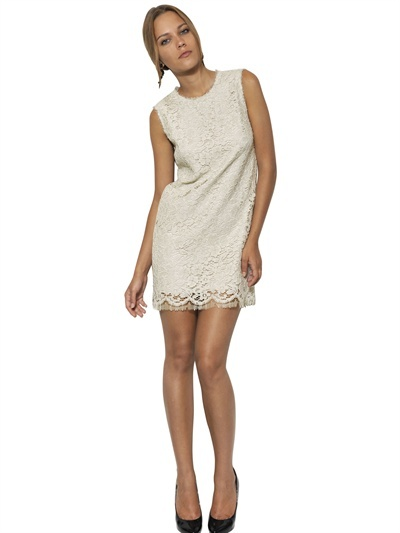 Dolce & Gabbana Cotton Viscose Lace Galon Dress