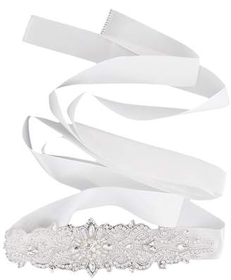 OULII Wedding Bridal Dress Sash Belt with Rhinestone Crystal (White)