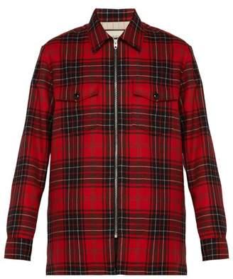 Gucci Tartan Logo Applique Wool Shirt - Mens - Black Red