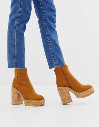 Asos Design DESIGN Equator cork platform boots in tan