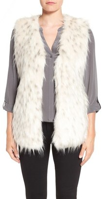 Women's Via Spiga Collarless Faux Fur Vest $210 thestylecure.com