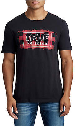 True Religion MENS PLAID LOGO GRAPHIC TEE