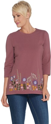 Denim & Co. Perfect Jersey Round-Neck Embroidered Top