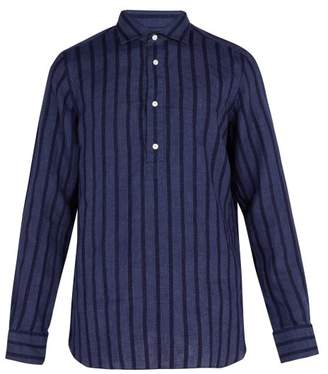 Finamore 1925 - Miami Collarless Linen Shirt - Mens - Navy