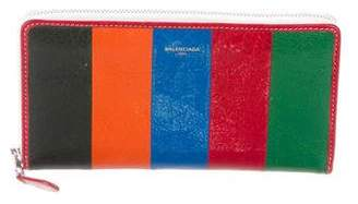 Balenciaga Leather Striped Wallet