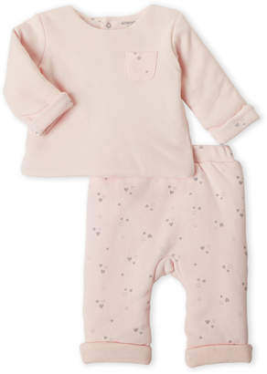 Absorba Newborn Girls) Two-Piece Heart Muslin Top & Pants Set