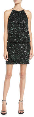 Aidan Mattox Beaded Blouson Halter Mini Dress