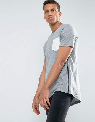 Loyalty And Faith Longline Pocket T-Shirt with Zip Detail