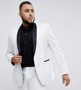 Asos EDITION Plus skinny tuxedo suit jacket in sequin and lace embellished white sateen