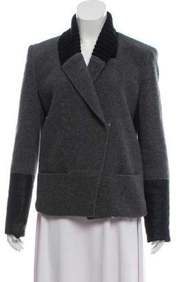 Theory Structured Leather-Trimmed Coat