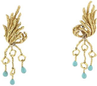 One Kings Lane Vintage Persian Turquoise & Diamond Earrings - Precious & Rare Pieces