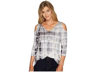 Tribal 3/4 Sleeve Tie-Dye Jersey Cold Shoulder Top Women's Long Sleeve Pullover