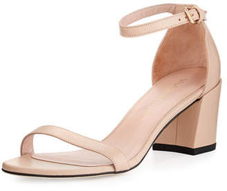 Stuart Weitzman Simple Napa Chunky-Heel City Sandal $398 thestylecure.com