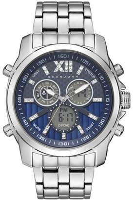 Sean John MEN ANALOG DIGITAL DISPLAY SILVER CASE BLUE DIAL SILVER BRACELET SJC0175004