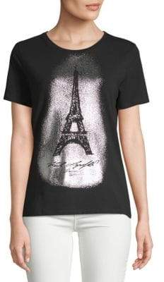 Stretch Cotton Eiffel Tower-Print Tee