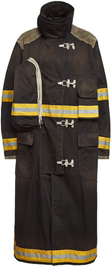 Fireman Coat with Distressed Detail
