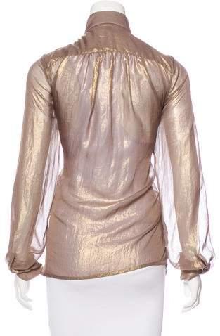 Plein Sud Jeanius Long Sleeve Metallic Top w/ Tags