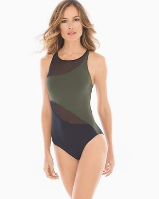 Bleu Rod Beattie Don't Mesh With Me High Neck One Piece Swimsuit Amazon Green And Black